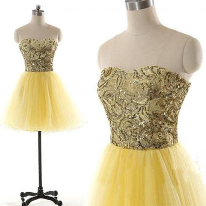 short prom dress, yellow prom dress..