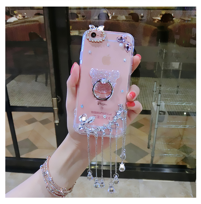phone case!Luxury rhinestone phone case, gemstone tassel flash powder soft rubber sleeve all-inclusive soft tide brand female models