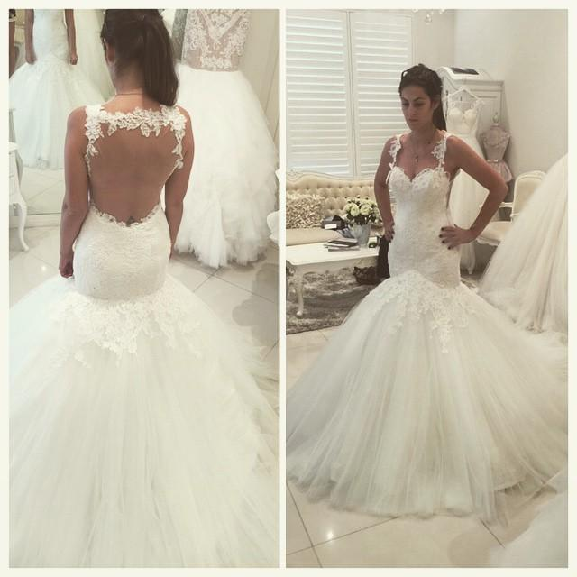 White Wedding DressesMermaid Wedding GownLace Wedding GownsLace Bridal DressBackless Wedding