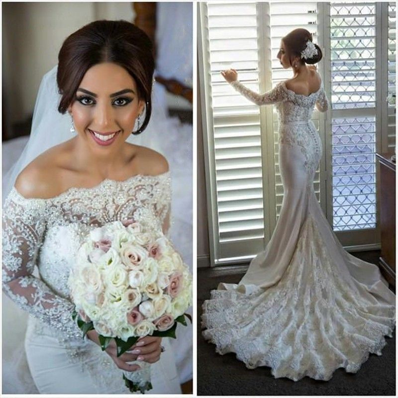 2017 Wedding DressesSweetheart white Lace Mermaid Wedding Dresses ,Applique Wedding Dresses, Long Sleeves Bridal Gown ,Lace Bridal Dresses,Real Photos Wedding Dresses