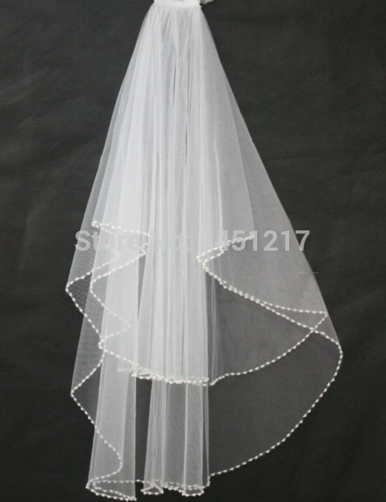 cheapWedding veil simple white/Ivory Wedding Veil Wedding tiara wedding veil/bridal veil/bridal accessories/head veil/tulle veil ,2T White/Ivory Veils Wrist length bead edge Wedding Bridal Veil with comb