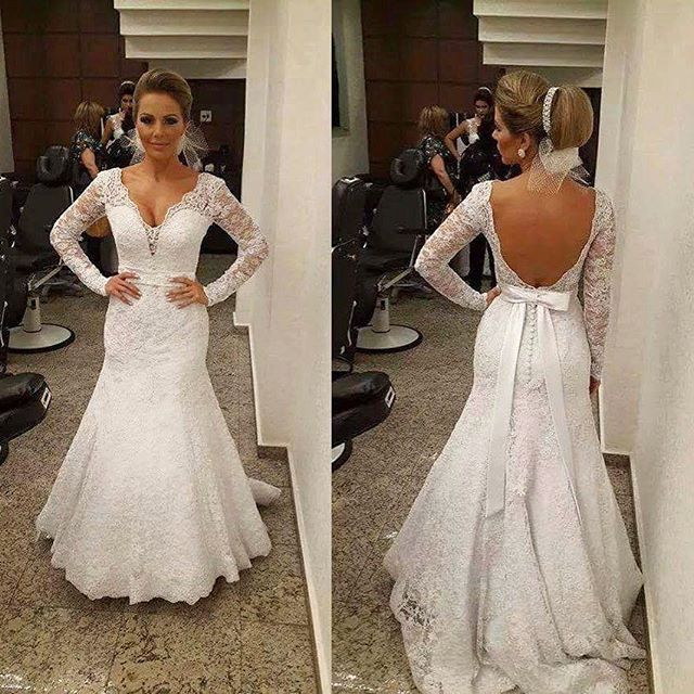 Lace Plunge V Long Mesh Sleeves Floor Length Mermaid Trumpet Wedding Dress Featuring Open Back, Bow Accent Back and Train