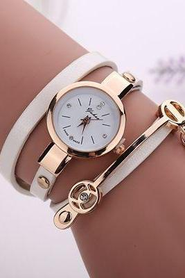 woman wrist watch,Wrap Pu leather white dress woman wrist watch