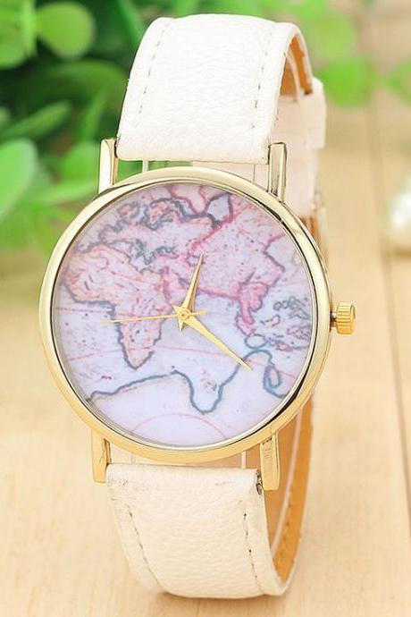 woman wrist watch,World map casual Pu leather white band woman watch