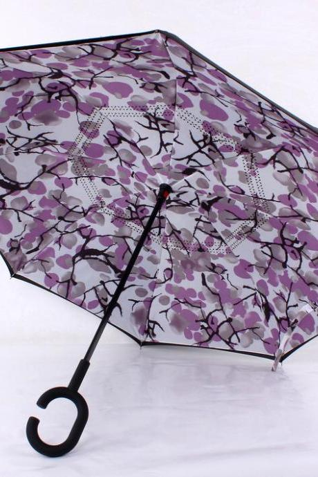 Branches of a shadow umbrella,Anti-UV C-Handle Sun Rain Opposite folding Upside Down Reverse Inverted Umbrella,Reverse double umbrella, peacock sun umbrellas, creative touch attack cloth umbrella, double layer, prevent bask in car sunshade