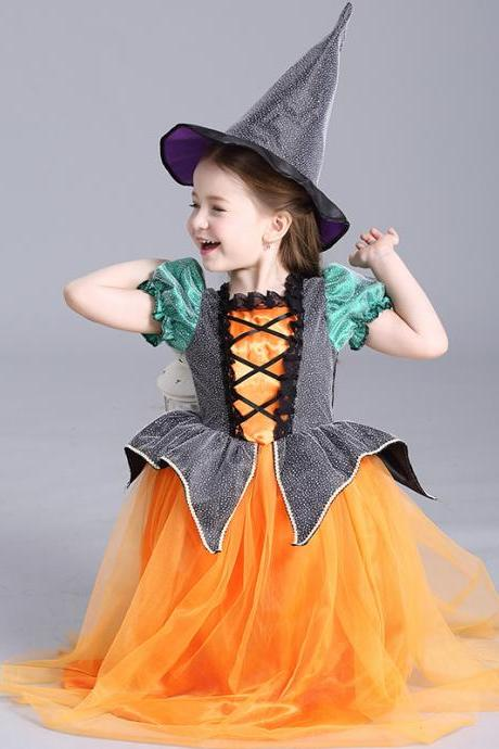 Halloween children's clothing witch wizard cloak batwing coat witch cloak girls princess dress costumes