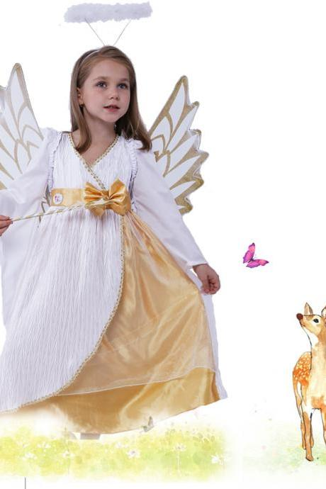The new children's Halloween costume for cosplay party ,Children's Halloween costume for Cosplay show clothes gold angel princess witch witch skirt of the girls