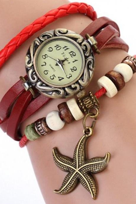 Starfish Watch, Starfish Leather Watch, Leather Bracelet Watch, Leather Watch, Bracelet Watch, Vintage Watch, Retro Watch, Woman Watch, Lady Watch, Girl Watch, Unisex Watch, red