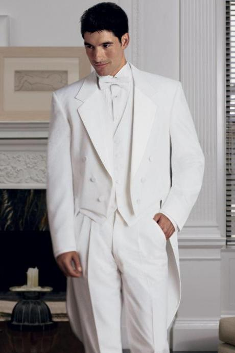 New Arrival Classic White Men Tailcoat Notched Lapel Wedding Suits For Men Men Suits Trim Fit 3 Pieces Formal Grooms Suit(Jacket + Pants + Vest)