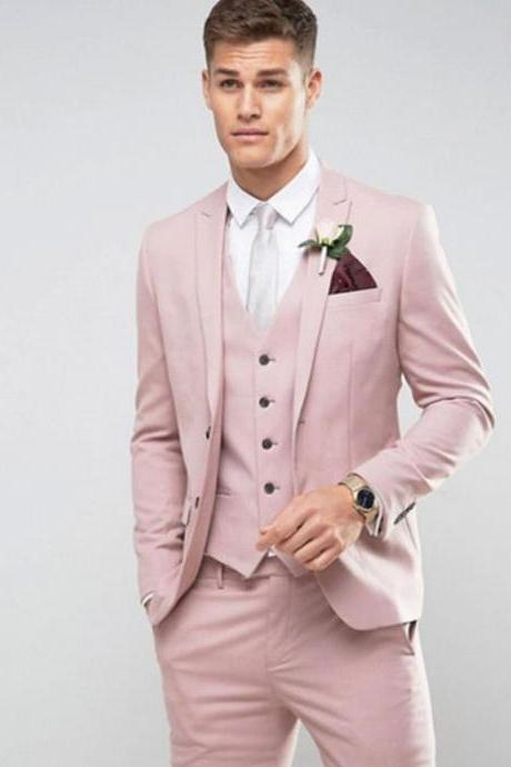 Striped suit,Tailor Made Light Pink Men Suit Slim Fit Groom Prom Party Blazer Costume Marriage Homme Male Tuxedo 3pcs(Jacket+Pants+Vest), Men Suit Costume Homme Vest Formal Business Mens Blazer Suit mens Suits Wedding Groom(Jacket+Pants+Vest)