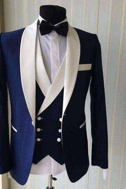 Custom Made Groomsmen Shawl White Lapel Groom Tuxedos Blue Men Suits Wedding Best Man Blazer (Jacket+Pants+Vest+Bow Tie ),Striped suit, Men Suit Costume Homme Vest Formal Business Mens Blazer Suit mens Suits Wedding Groom