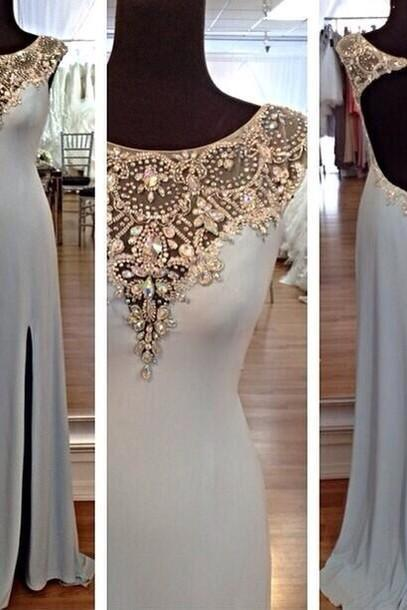 Sexy O Neck With Crystals Mermaid Natural Waist Open Back Side Slit Floor Length Evening Dress Prom Dresses Party Dresses