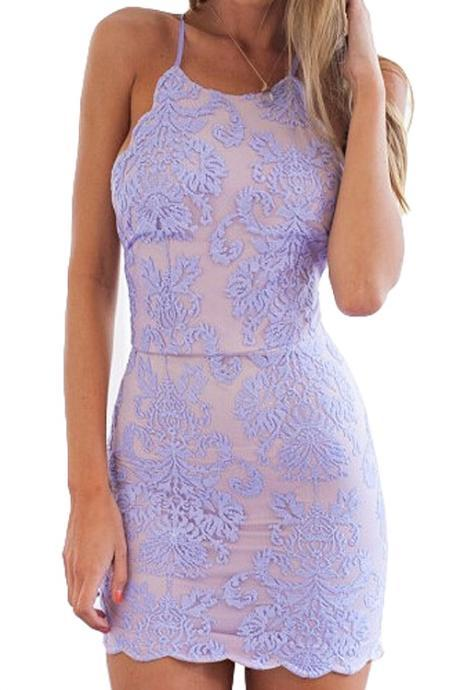 Lavender Lace Halter Neck Short Bodycon Dress Featuring Open Back with Criss Cross Detailing