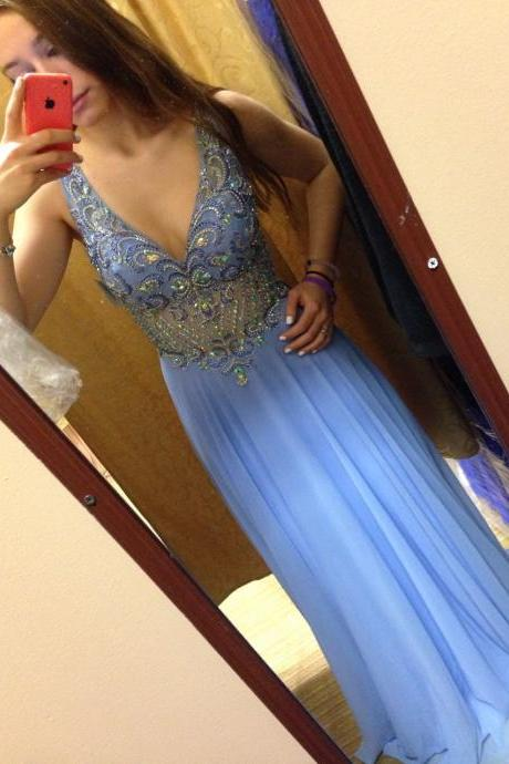 Prom Dresses,Blue Evening Gowns,Sexy Formal Dresses,V Neckline Prom Dresses, Fashion Evening Gown,Chiffon Evening Dress,Sexy Party Dress,2016 Evening Gowns
