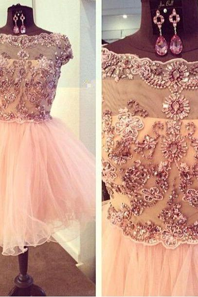 Beading Short Pink Homecoming Dresses Back Keyhole Cap Sleeve Party Dresses Prom Gowns