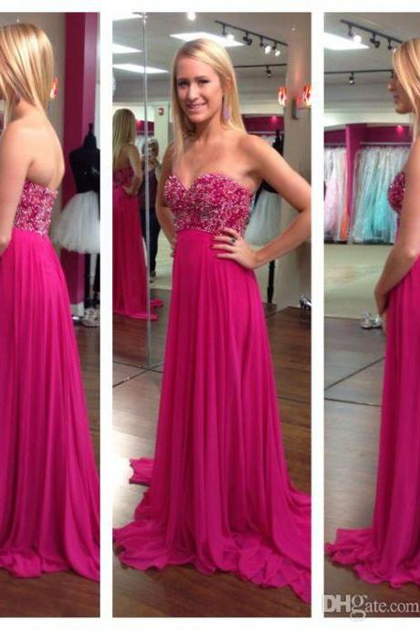 Fascinating New Prom Dresses Sweetheart Neck Beaded A-Line Sleeveless Floor Length Chiffon Elegant Evening Gowns Pageant Dress