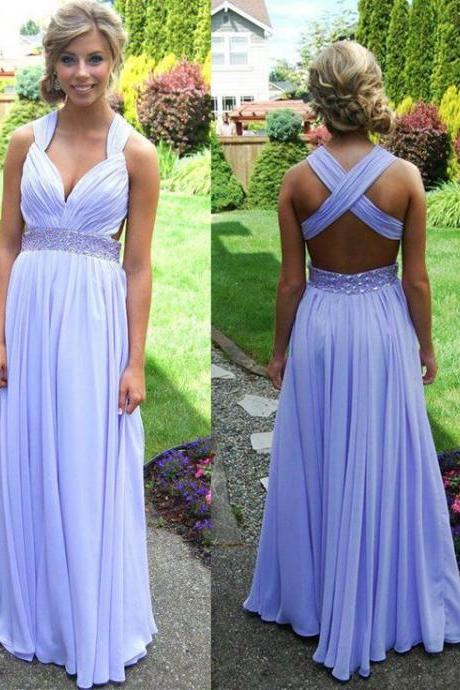 Charming Prom Dress,V-Neck Prom Dress,Chiffon Prom Dress,Backless Prom Dress,A-Line Prom Dress
