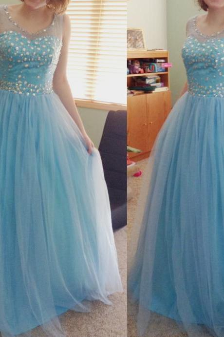 Sequinned Embellished Sweetheart Illusion Floor Length Tulle A-Line Formal Dress, Prom Dress