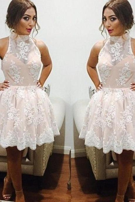 High-Neck Lace Prom Dresses,Off The Shoulder Prom Dresses,Short Prom Dresses ,Tulle Ivory Cocktail Dress, A Line Party Dresses Custom Made Free