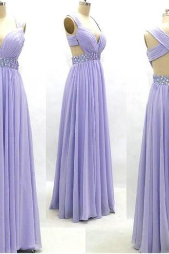 Lavender Prom Dress ,Sweetheart Prm Gowns ,Sexy Chiffon Dresses, Floor Length Long Prom Dress , Open Back Evening Dresses