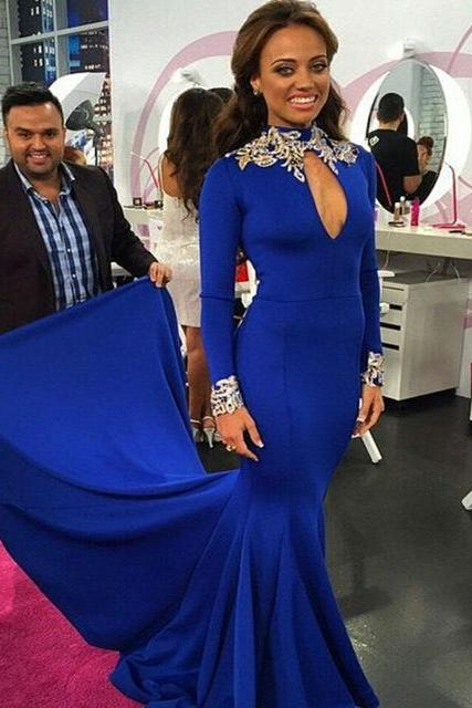 Evening Dress, Royal Blue Evening Dress,Mermaid Prom Dress,High Neck Evening Dress, Long Sleeve Evening Dress, Appliques Evening Dress, Long Evening Dress,Formal Evening Dress, Plus Size Evening Dress, Elegant Evening Dress,Party Dress ,Evening Dress 2017
