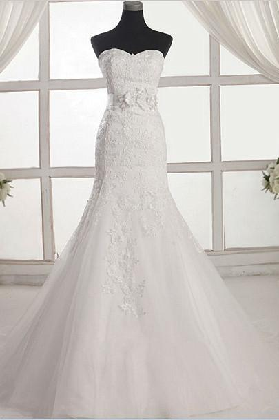 Lace Appliqués Sweetheart Floor Length Tulle Mermaid Wedding Dress Featuring Floral Appliqués Belt, Lace-Up Back and Train