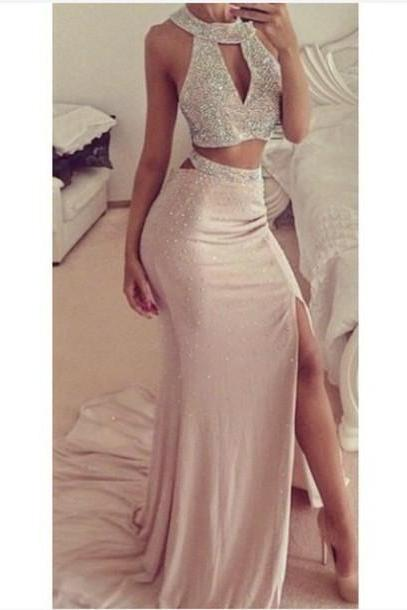Two-Piece Formal Dress Featuring Beaded Embellished Halter Crop Top and Floor Length A-Line Skirt Featuring Slit, Prom Dress