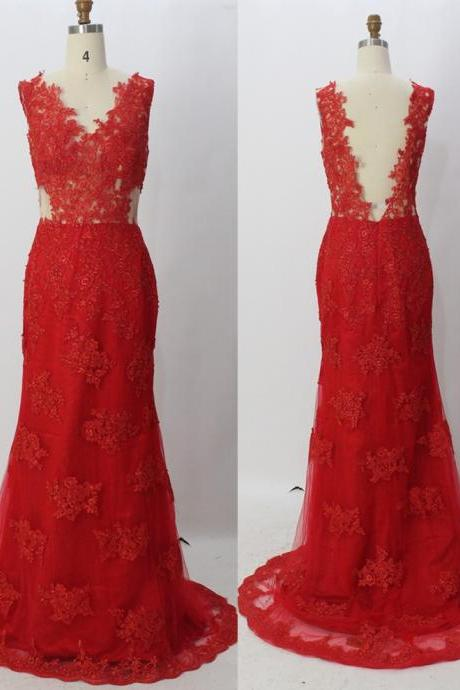 Red Evening Dress V Neck Backless Sleeveless With Appliques Tulle Dresses Floor Length 2016 Sexy Matching Cutaway Side Elegant Sizes Available