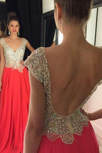 High Quality Prom Dress, Beading Prom Dress long prom dress BACKLESS prom dress Fashion Prom Dresses Prom Dress Cocktail Evening Gown For Wedding Party