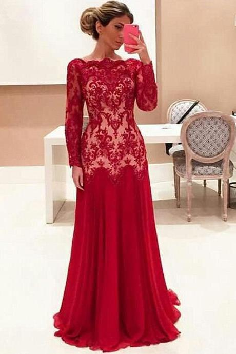 High Quality wedding Dress,lace wedding dressA word dress Cocktail Evening Gown For Wedding Party The tail wedding dress, red wedding dress Long sleeve dress