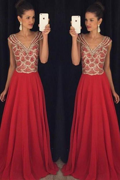 red Prom DressDeep v prom dress High collar dress, Beading Prom Dress long prom dress Fashion Prom Dresses Prom Dress Cocktail Evening Gown For Wedding Party