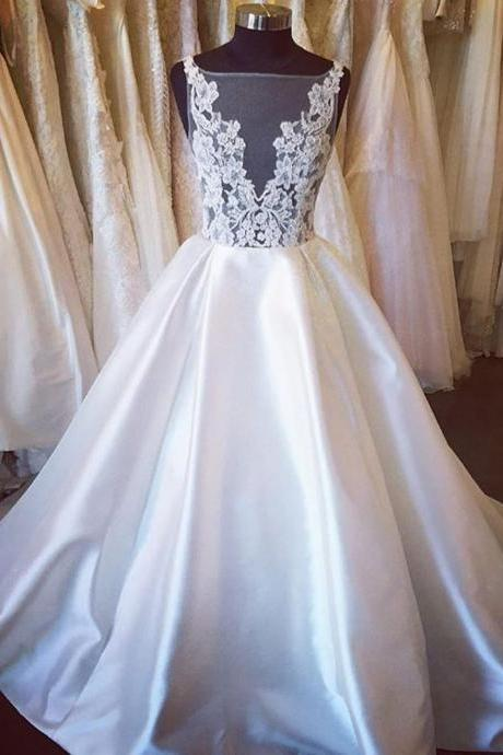 Sabrina Sheer Lace Appliqués Ball Gown Satin Wedding Dress Featuring V-Back and Long Train