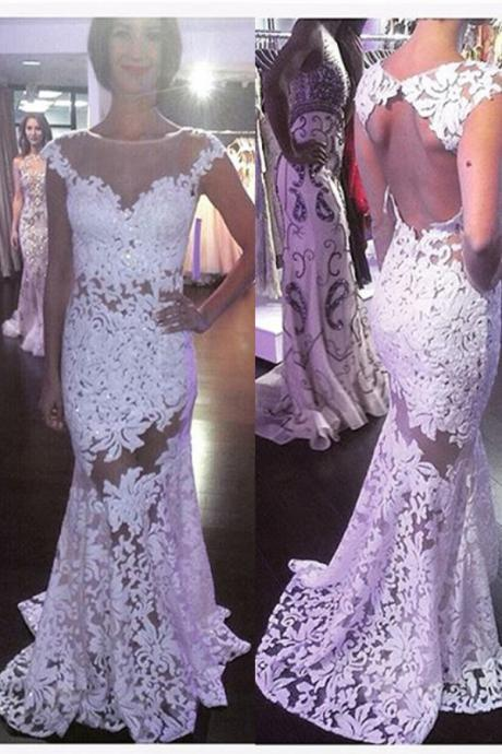 Sexy White Lace Prom Dresses,Open Back Prom Gowns,Mermaid Prom Dresses, High Neck Cap Sleeves Prom Gowns,Beautiful Women Dresses,Wedding Dresses,Backless Wedding Dress