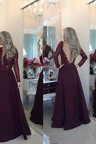 Prom Dress,Long sleeve lace Prom Dress, 2016 Long Prom Dress, Sexy Prom Dress, Long Prom Gowns, Unique Prom Dress,Evening Dress 2016,Formal Dress,Charming Evening Gowns