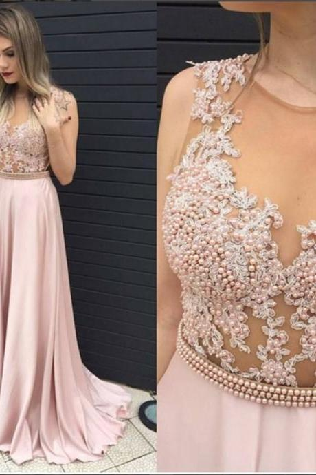 Modest Prom Dresses,Sexy New Prom Dress,Blushing Pink Long Prom Dress Illusion Pearls Belt Evening Dresses,Formal Dress