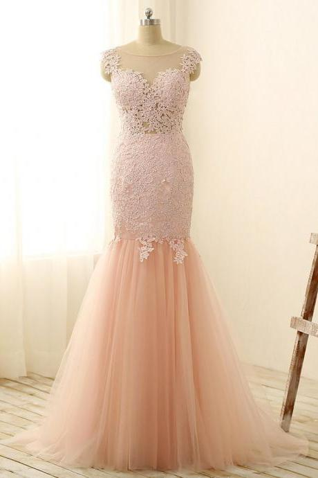 Formal Dress, Modest Prom Dresses,Sexy New Prom Dress,Gorgeous Pink Sexy Mermaid Prom Dresses Tulle Lace Applique Long Party Gowns pink Formal Occasion Dresses,Formal Dress