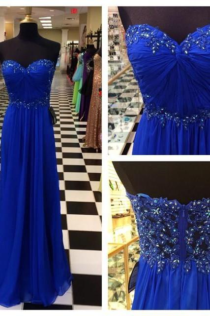 Prom Dress,Royal Blue Prom Dresses,Royal Blue Prom Dress,Silver Beaded Formal Gown,Beadings Prom Dresses,Evening Gowns,Chiffon Formal Gown For Senior Teens,Formal Dress