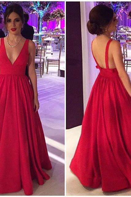 Formal Dress, Deep V neck Red Prom Dress,Long Prom Dress,Backless Prom Dress,2017 Prom Gonws,Sexy Prom Evening Dress,Red Party Dress,Formal Prom Dress,Dress For Prom,Charming Evening Dress,Formal Dresses