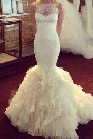 Sleeveless Sheer Lace Appliqués Mermaid Wedding Dress with Ruffled Skirt