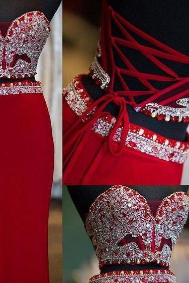 Long prom dresses,red evening gowns,2 pieces prom gowns,red prom gowns,2017 new style fashion prom gowns