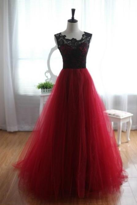 Prom Dress,Maroon Long Prom Dress,prom dresses,lace evening gowns,lace prom gowns,evening dress,Tulle party gowns,burgundy prom gowns