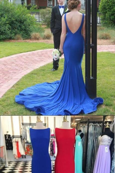 Prom Dress,Maroon Long Prom Dress,New Arrival Prom Dress Evening Dress Royal blue Prom Dresses,Open Back Prom Dresses with Sweep Train, Mermaid Evening Dresses