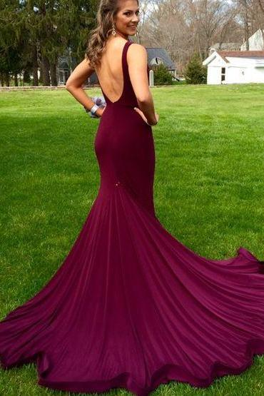 Formal Dresses,New Arrival Prom Dress,Mermaid purple backless long prom dress,evening dress,formal dress,Backless Party Dresses,Wedding Guest Prom Gowns, Formal Occasion Dresses,Formal Dress