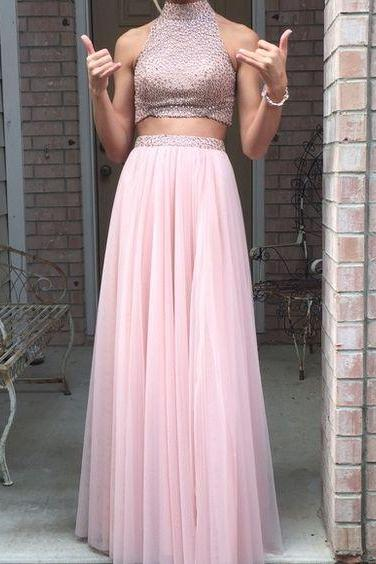 Prom Dress,Sexy Pink Backless Prom Dresses,2 pieces Prom Gowns,Pink Prom Dresses,Long Prom Gown,Prom Dress,Sparkle Evening Gown,Sparkly Party Gown, Formal Occasion Dresses,Formal Dress
