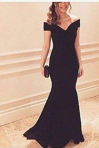 Prom Dress, Sexy Evening Gowns Black Off The Shoulder Satin Mermaid Prom Dress, Evening Dress, Formal Gown, Formal Occasion Dresses,Formal Dress