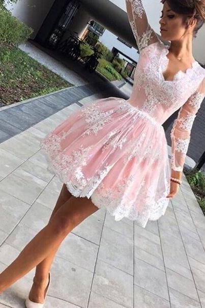 Party Dress, long sleeve party dresses,lace homecoming dress, pink party dress,short prom dress,cute homecoming dress,formal dress