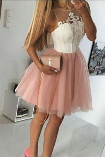 Party Dresses, Pink tulle homecoming dress,applique homecoming dresses,short prom dress,cute party dress,women dresses