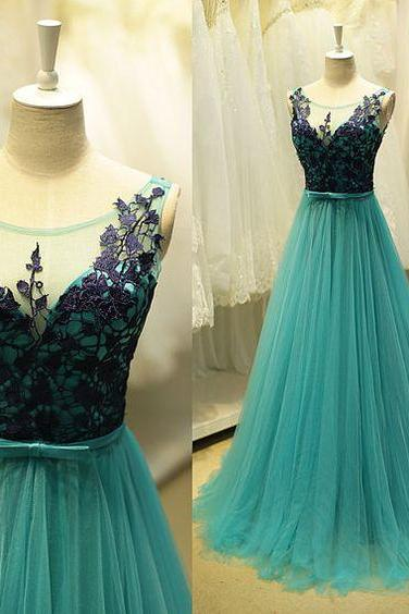 Prom Dress, Blue Prom Dresses, Prom Dresses,Modest Prom Gown,Tulle Prom Gown,Blue Evening Dress,Lace Evening Gowns,Black Lace Party Gowns