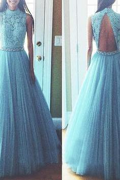 Prom Dress, New long prom dress, prom dress, blue prom dresses, A-line prom dress, backless prom dress, dress gown