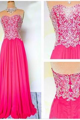 Hot Pink Beaded Embellished Sweetheart Chiffon Floor Length A-Line Formal Dress, Prom Dress